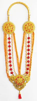 Golden with Red Multistrand Artificial Bead Garland with Golden Pendant