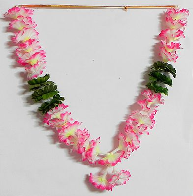 White with Magenta Ribbon Artificial Flower Garland