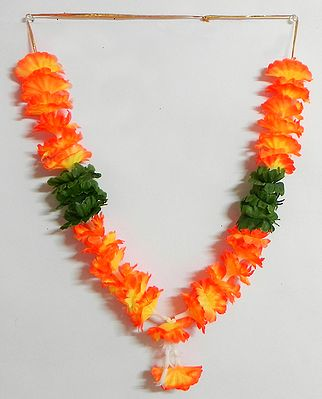 Saffron with Yellow Ribbon Artificial Flower Garland