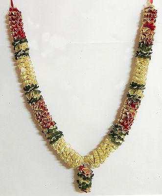 Red, Green and Golden Ribbon Artificial Flower Garland