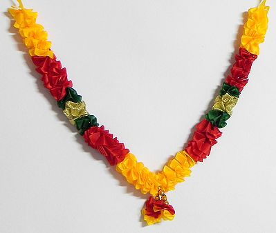 Red with Yellow and Green Cloth Flower Garland
