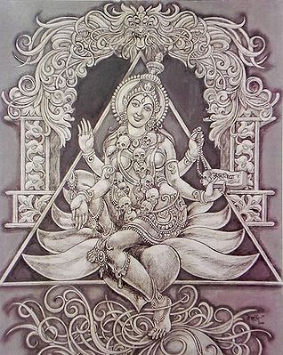 Goddess Kali Sitting On Lotus