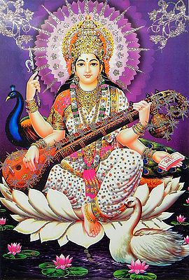 Saraswati Poster With Glitter
