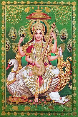 Goddess Saraswati Sitting on Swan