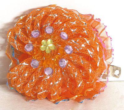 Stone Studded Saffron Net Cloth Hair Clip