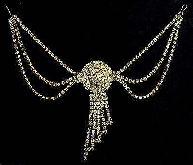 White Stone Studded Designer Hair Jewelry
