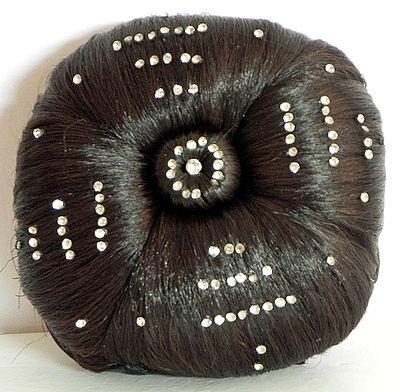 Stone Studded Designer Brown Hair Bun