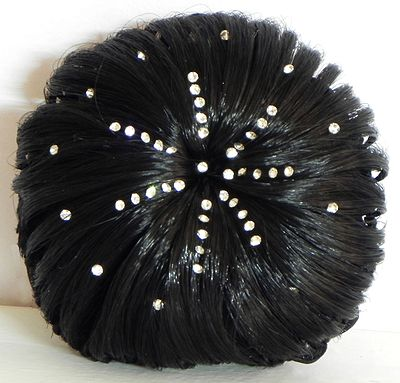 Stone Studded Black Hair Bun