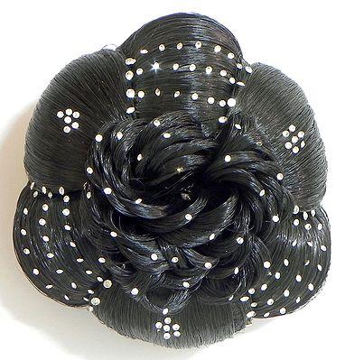 White Stone Studded Designer Black Hair Bun