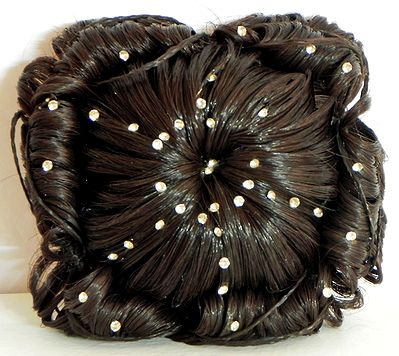 Stone Studded Designer Brown Hair Bun
