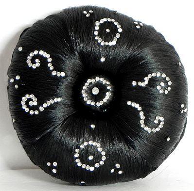 Stone Studded Designer Black Hair Bun