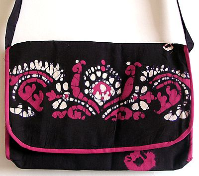 Batik Bag with One Zipped and One Open Pocket