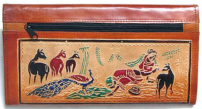 Embossed Leather Clutch Purse with Three Open Pocket and Four Zipped Pockets