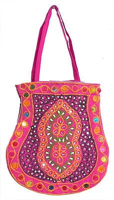 Beaded and Sequined Magenta Bag with Three Zipped Pockets