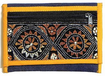 Kantha Embroidered Blue Denim Clutch Bag
