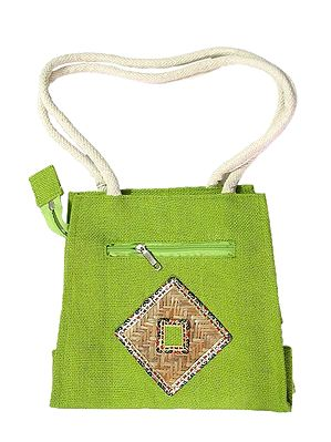 Green Appliqued Bag with Two Open Pockets and Two Zipped Pockets