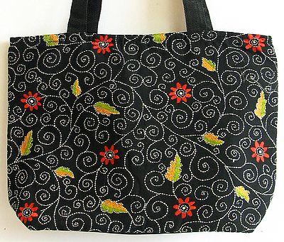Kantha Embroidered Black Cotton Bag