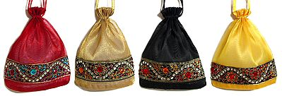 Lot of Four Pouches with Multicolor Stone Studded Border