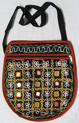 Mirror Work Shoulder Bag with Two Zipped Pockets