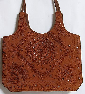 Mirrorwork and Embroidered Rust Cotton Bag