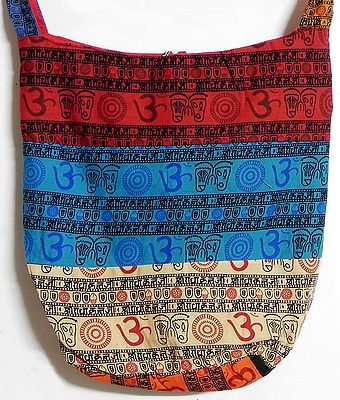 Patchwork Multicolor Cotton Bag with Om and Radha Krishna Print