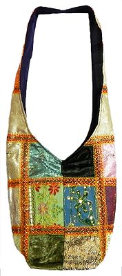 Patchwork Cotton Bag with Sequins