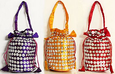 Three Sequined Fashionable Silk Potli Bags