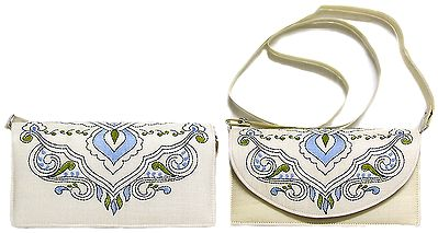 White Bag with Blue and Green Embroidery - (Front and Back View)