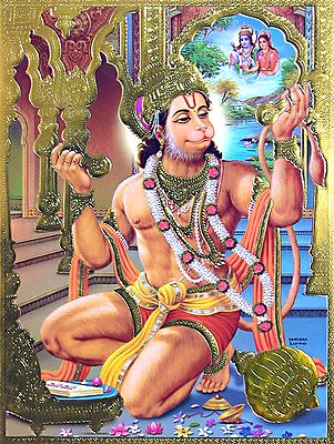 Hanuman Singing Hymns in Praise of Lord Rama