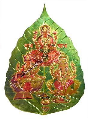 Lakshmi, Saraswati and Ganesha on Pipul Leaf