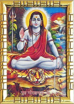 Framed Guru Gorakhnath Ji Picture 5 X 3 5 Inches
