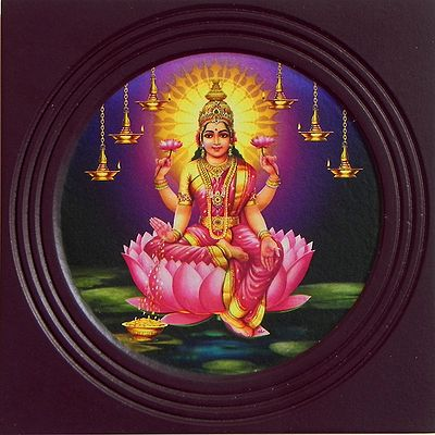 Goddess Lakshmi (Deco Painting) - Wall Hanging with Stand