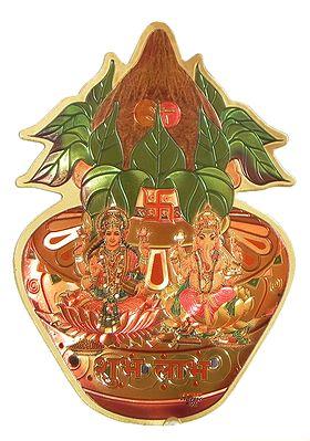 Lakshmi and Ganesha on Kalash