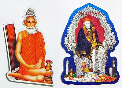 Loknath Baba and shirdi Sai Baba - Set of Two Stickers