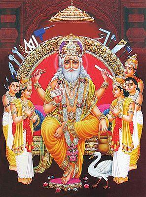 Vishwakarma - The Architect of Heaven (Poster with Glitter)