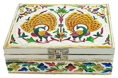 Peacock Meenakari Jewelry Box with Velvet Lining