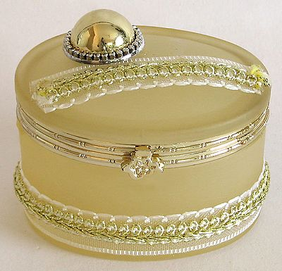 Off White Oval Shaped Jewelry Box Decorated with Ribbon