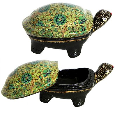 Papier Mache Jewelry Container from Kashmir