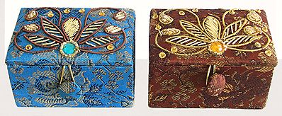 Two Square Jewelry Box with Zari and Sequine Work