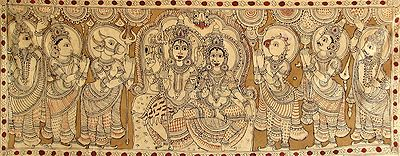 Shiva Parvati Being Prayed by Gods and Nandi, Bhringi