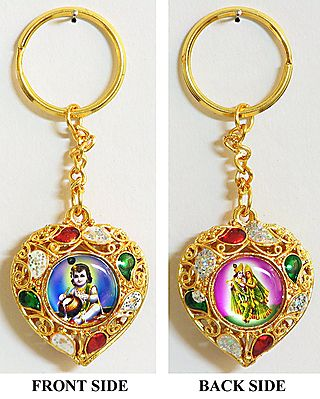 Double Sided Key Ring - Bal Gopala and Radha Krishna
