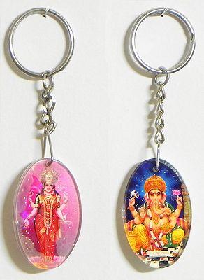 Lakshmi and Ganesha Key Holders - Set of Two