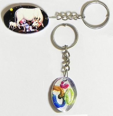 Om and Krishna Key Holders - Set of Two