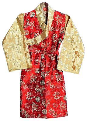 Red with Peach Brocade Silk Sikkimese Dress