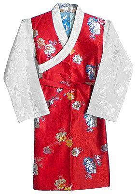 Red with White Brocade Silk Sikkimese Dress