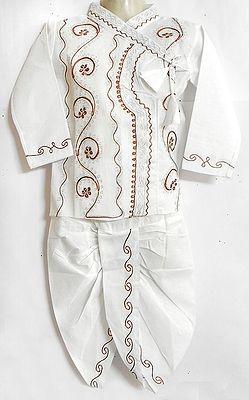 Embroidered white Full Sleeve Kurta and Dhoti