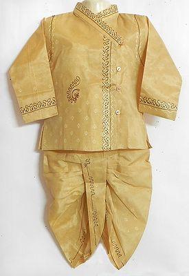 Embroidered Beige Full Sleeve Kurta and Dhoti