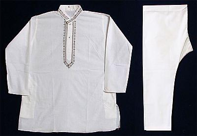 Embroidered White Kurta and Pyjama