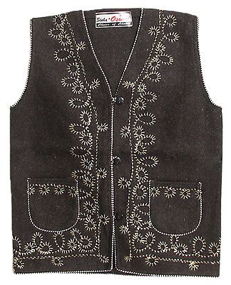 Front Open Embroidered Sleeveless Woolen Jacket with Pocket