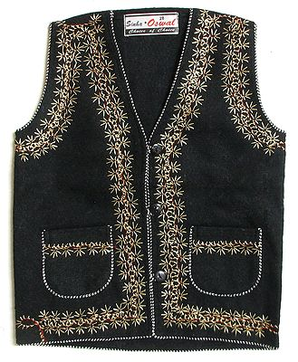 Front Open Embroidered Woolen Jacket with Pocket